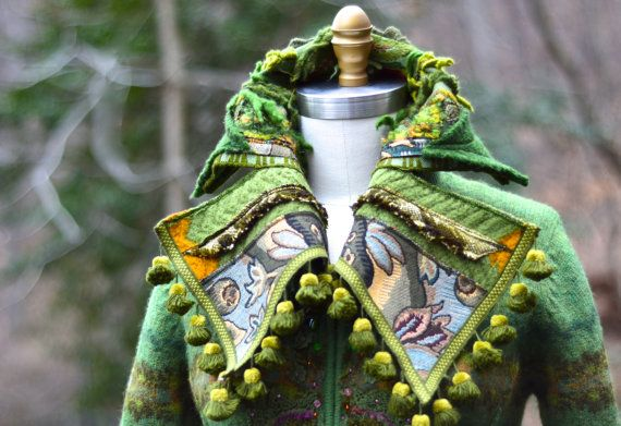 Patchwork green sweater Coat boho Fantasy clothing by amberstudios