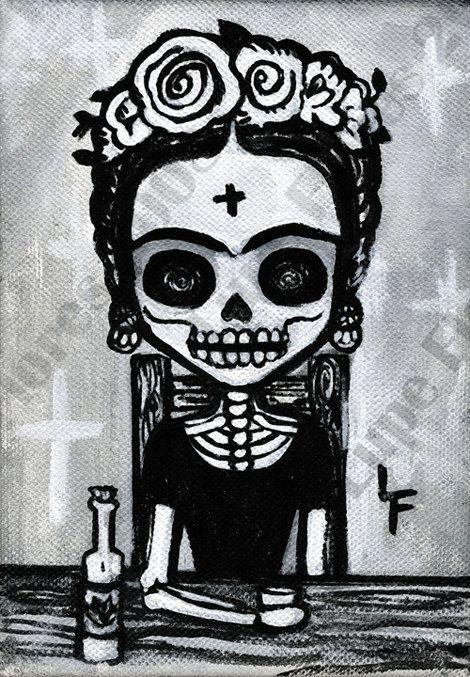 Fancy Frida Kahlo Drinking Tequila