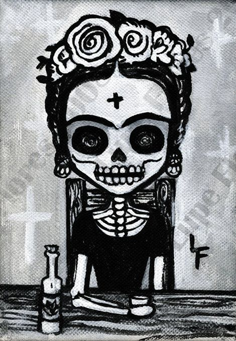 Fancy Frida Kahlo Drinking Tequila 5x7 art by ArtByLupeFlores, $6.99