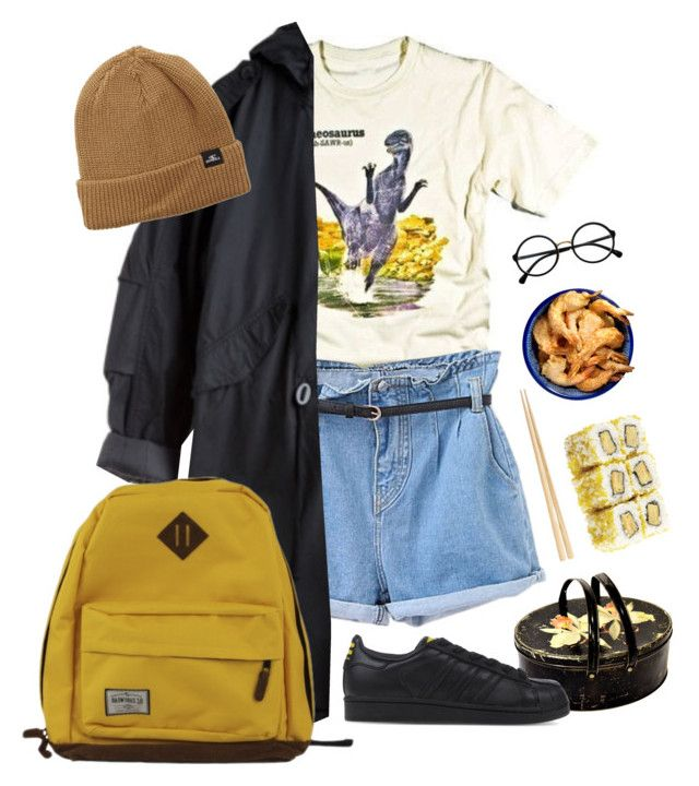 """sushi"" by paper-freckles ❤ liked on Polyvore featuring Retrò, O'Neill, La Isla and adidas Originals"