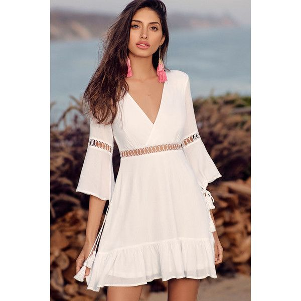 Love Letters White Skater Dress ($64) ❤ liked on Polyvore featuring dresses, white, white dress, lulus dress, skater dresses, white flared skirt and flared skirt
