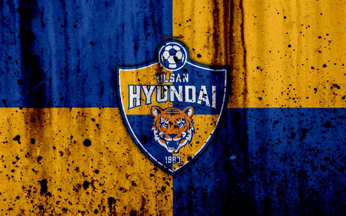 Download wallpapers 4k, FC Ulsan Hyundai, grunge, K-League Classic, soccer, football club, South Korea, Ulsan Hyundai, art, stone texture, Ulsan Hyundai FC