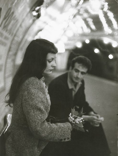 "Robert Doisneau ""Le Muguet du Métro"" (Marc and Christiane Chevalier in the Paris Metro) 1953"