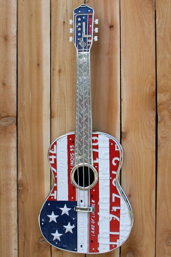 The American  Handmade guitar art made from by ToddPerkinsArt, $750.00