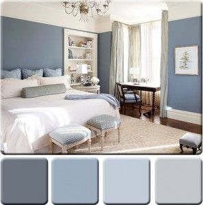 Darkest Dusty Blue tv wall... Lightest Grey all over walls... Darker Grey kitchen and entryway...(All colors a little warmer)