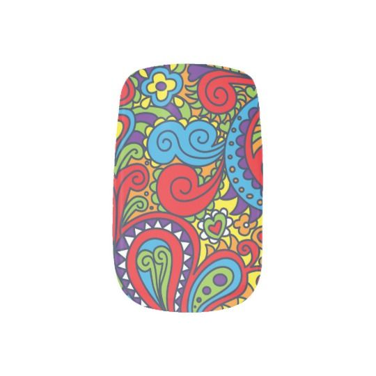 Vibrant color Abstract Paisley pattern Minx Nail Wraps