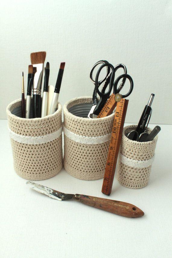 Crochet Pencil Holder Shabby Chic Office Desk