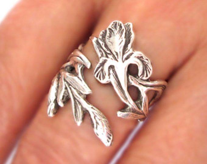 Iris ring bloem ring unieke Sterling Silver Jewelry verstelbare ring Sterling silver ring Fleur De Lis ring grote ring niet lepel ring R-135