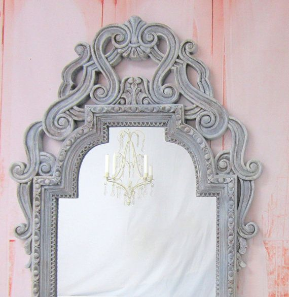 Ornate antique mirror for sale solid wood mirror 36 x33 for Large white mirrors for sale