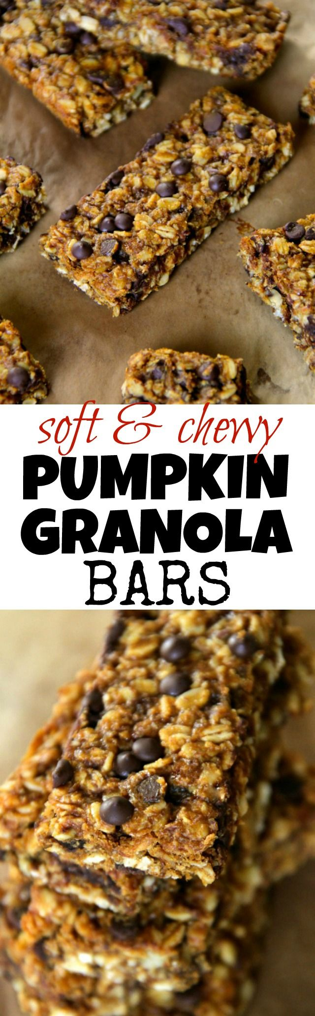 Soft and Chewy Pumpkin Granola Bars -- loaded with oats, pumpkin, chocolate, and warming spices!    runningwithspoons.com #pumpkin #granolabar