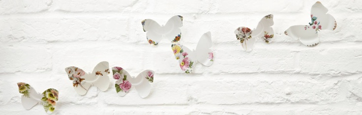 The Chrysalis collection consists of decorative butterflies crafted from recycled fine bone china saucers. A contemporary take on vintage ceramics, each piece is cut beautifully would make for a brilliantly retro feature wall.: Vintage Ceramic, Decorative Butterflies, Chrysalis Ceramic, Bone China, Butterflies Crafted, Tea Cups, Ceramic Butterflies