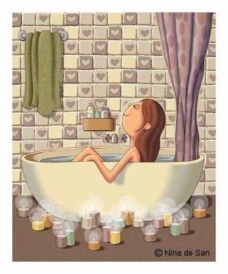 (describe esta imagen) pistas: baño, relax, velas, agua, tranquilidad...aromas... NIna de San