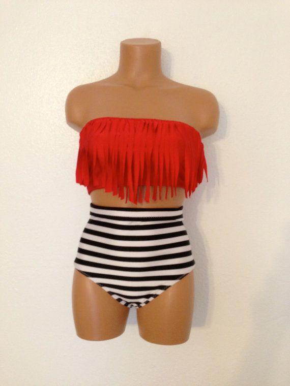 Stripes retro fringe bathing suit by LoveLucyBea on Etsy