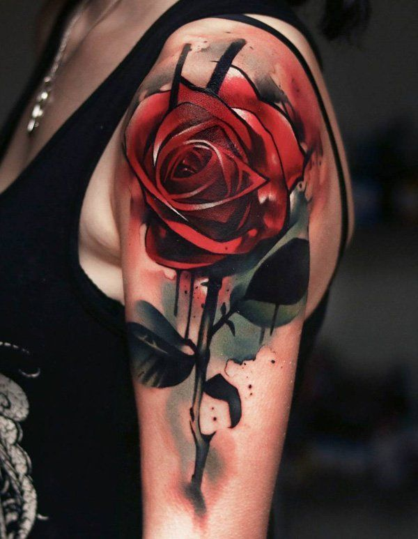 Red rose sleeve tattoo - 100+ Meaningful Rose Tattoo Designs  <3 <3