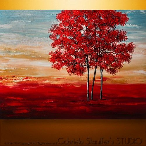 Abstract Painting Original Acrylic Modern Landscape Tree Palette Knife
