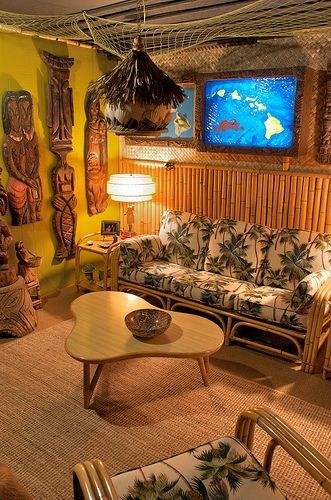 A swank tiki lounge, probably set up in someone's 50s suburban basement.