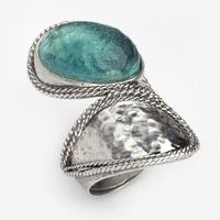 A stunning silver ring set with Roman glass.