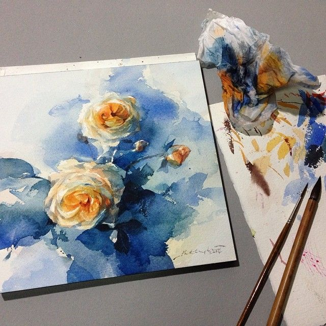 The light in blue... #watercolor #art #artist #bloom #blue #sweet #roses #rose