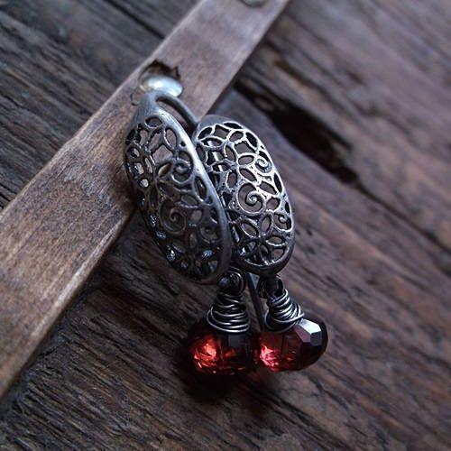 RED WINE, garnet, garnet onion, red gemstone, sterling silver, decorative earrings, garnet earrings, wire wrapped earrings by pieceofmysoulArt on Etsy