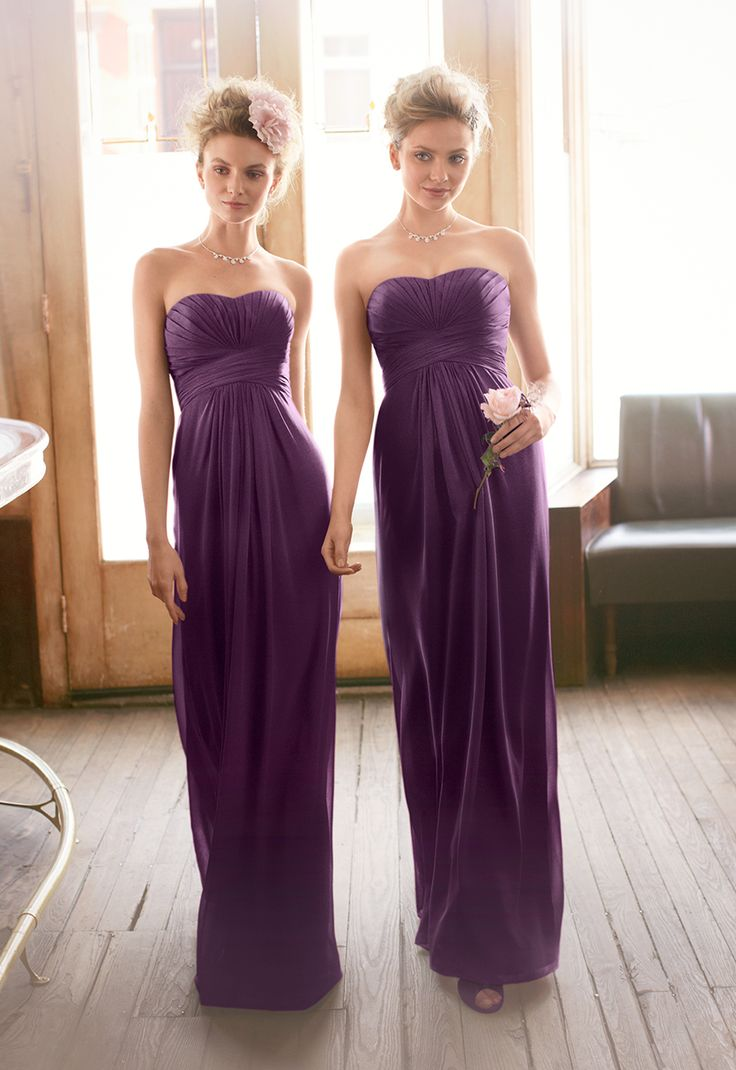 A look and feel that your bridesmaids will love, this long and flowy chiffon dress will set your bridal party apart from the rest! Shown here in Plum. Style F15555 #davidsbridal #purplewedding #bridesmaids