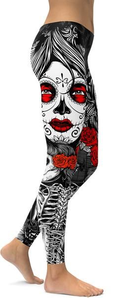 ON SALE! Skeleton Sugar Skull Leggings - GearBunch Leggings / Yoga Pants. These leggings are going to be a hit at boot camp! #NewYearNewMe
