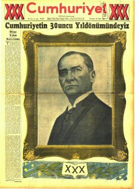 Cumhuriyetin 30.yıldönümü gazete haberi (Cumhuriyet gazetesi-29 Ekim 1953) 2(3.Cumhurbaşkanı Celal Bayar döneminde kutlanmıştır.)