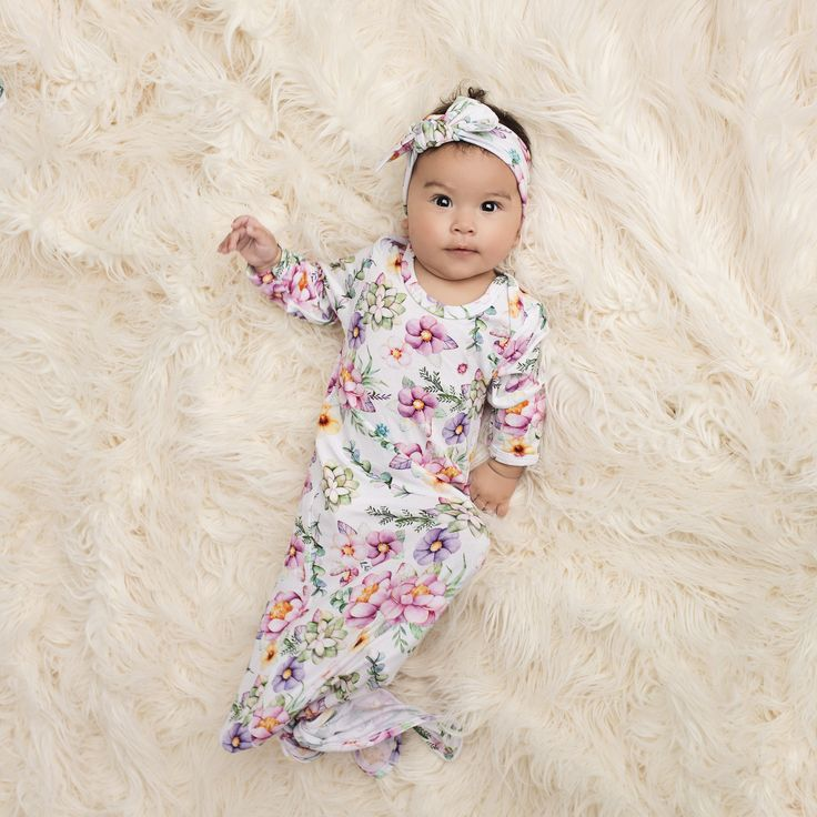 Succulent Baby Layette Knotted Gown