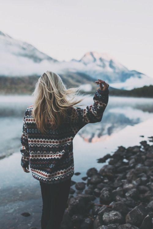приключение, горы, путешествие, зима, женщина