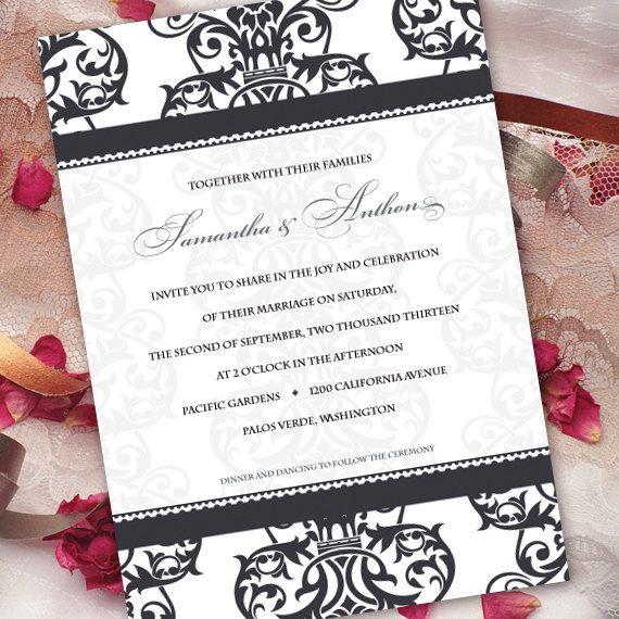 wedding invitation black and white formal by CeceliaJane on Etsy, $20.00