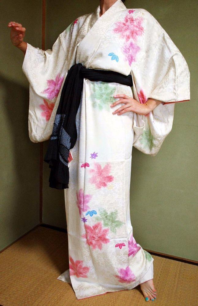 Japanese silk kimono robe womens gown momiji design bathrobe asian dress yukata  | eBay