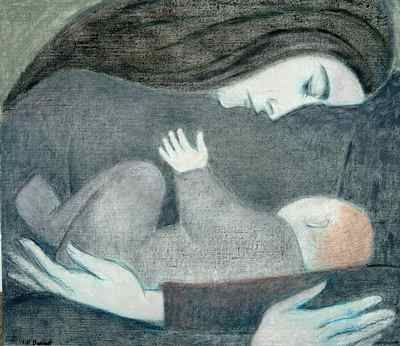Will Barnet, Mother and Child,1993-2006, Oil on canvas, 26 x 30 inches. Courtesy of Mr. & Mrs. J. William Meek III. ©2006 Will Barnet