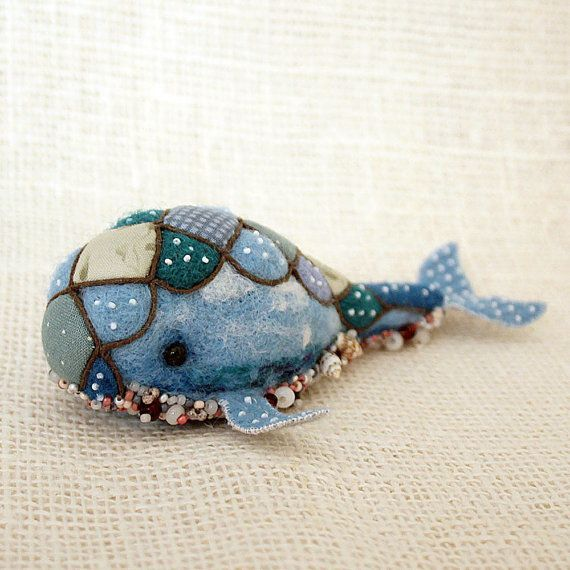 Fantasy needle felted blue whale by SecretFriends on Etsy