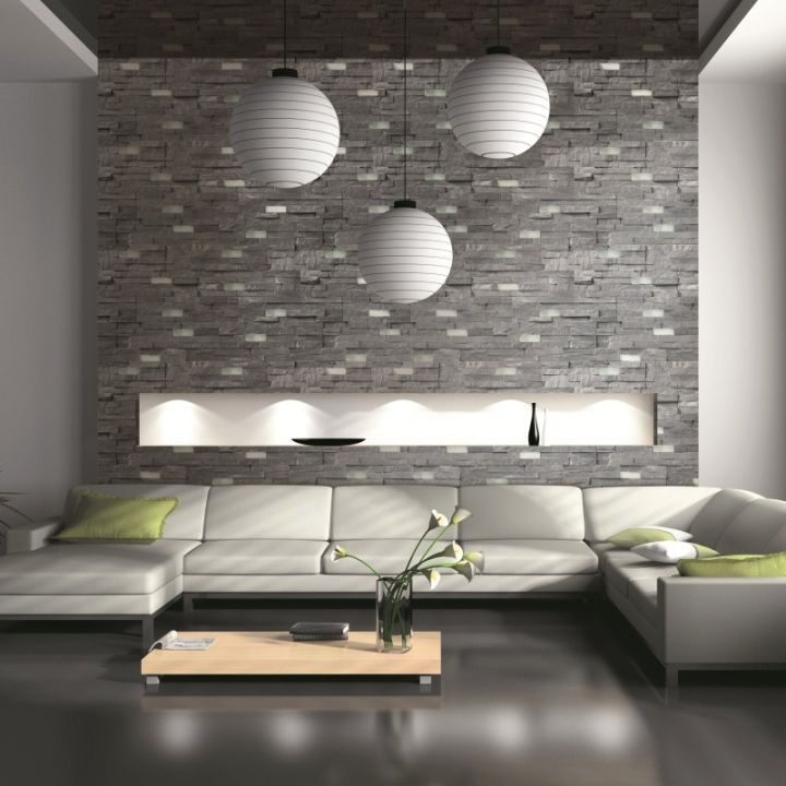 Petra split face tiles in dark grey are beautifully textured tiles perfect for creating dramatic feature walls. These hardwearing natural stone wall tiles are a great tile choice for interior or exterior wall tiles.