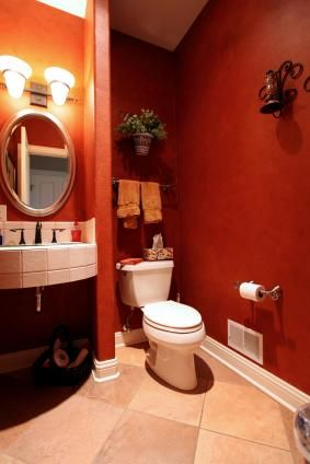 Dramatic red bathroom