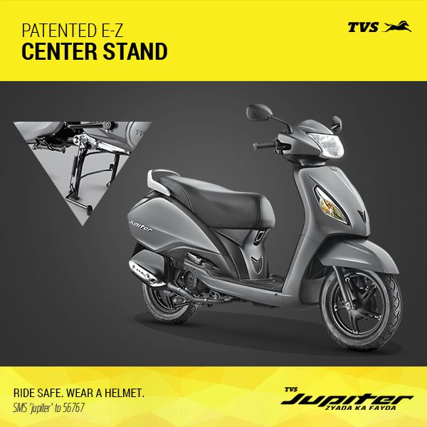 Park your TVS Jupiter with the Patented E-Z Center Stand.