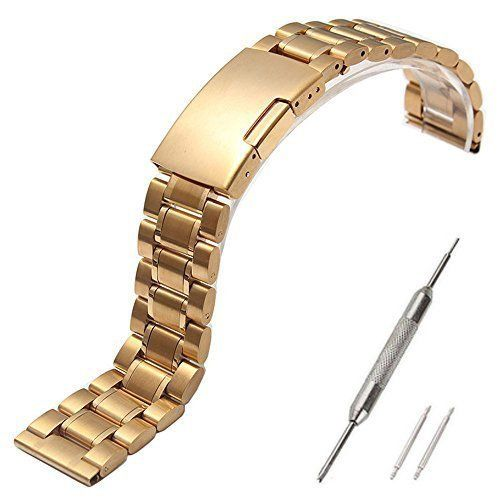Pebble Time Steel Band, Metal, Replacement Stainless Steel Watch Strap for Pebble Time Steel (NOT Pebble Steel) Smart Watch /No Watch - 5zhuGolden. Metal Watchband/ Stainless Steel Strap fits for (Pebble Time Steel) Smart Watch, Please NOTE: Not Pebble Steel. With Prefect workmanship, fashion design, comfortable feeling, stylish look, giving you noble wearing experience, easy to use, come with a set of tools. Easy to install and remove; Width: 22mm; Length adjustable length; Best metal…