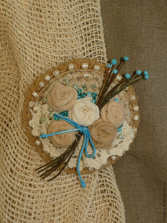 Купить Весенний БОХО - бежевый, текстильная брошь, брошь, бохо, бохо-шик, бохо-стиль