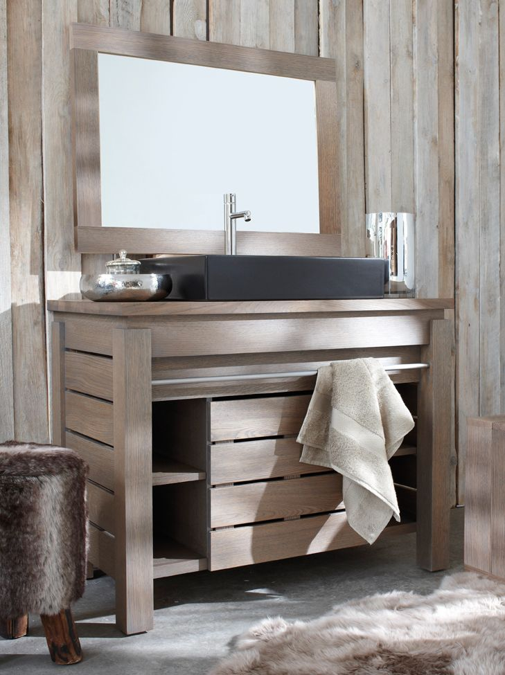 Line Art Vanity : Rustic charm in the bath with line art origin solid