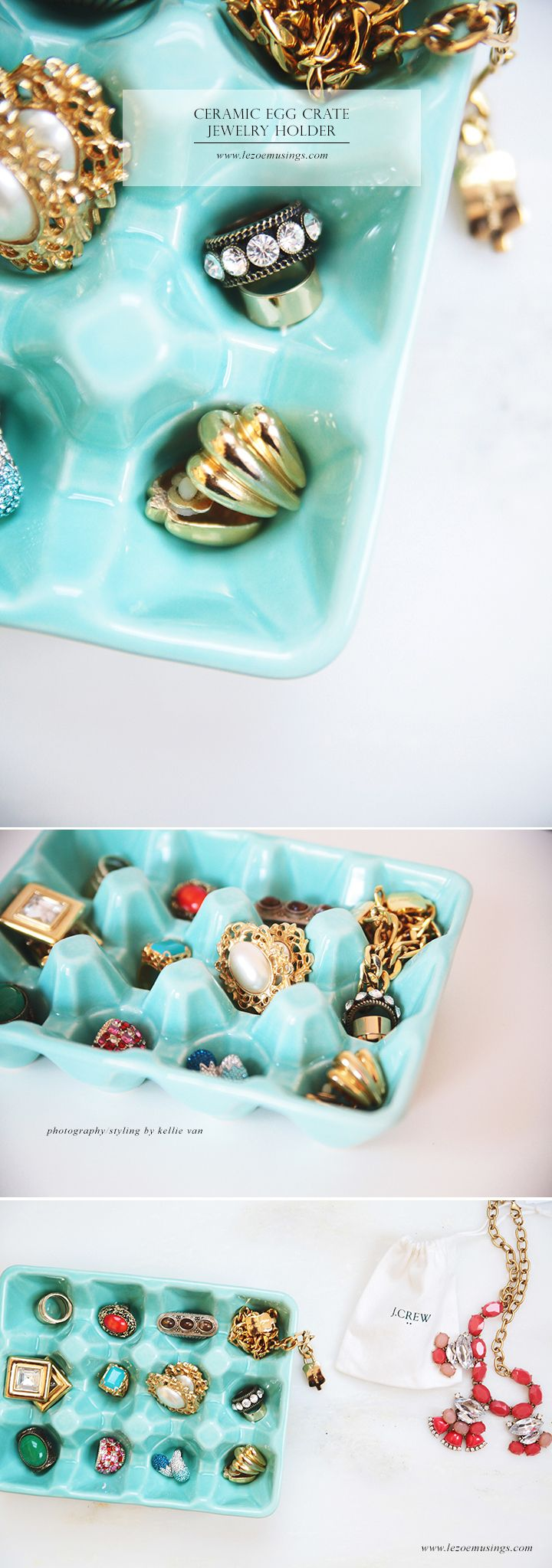 Turn a Ceramic Egg Crate into a Jewelry Organizer by Le Zoe Musings