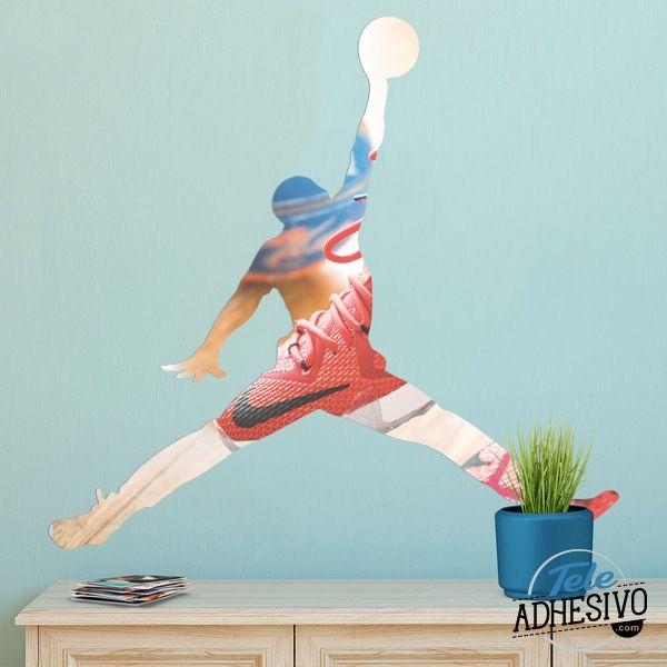Vinilo silueta fotomural basket air jordan. relleno fotográfico con zapatillas nike  #fotomural #vinilo #pared #TeleAdhesivo #jordan #basket #deco #gimnasio #baloncesto