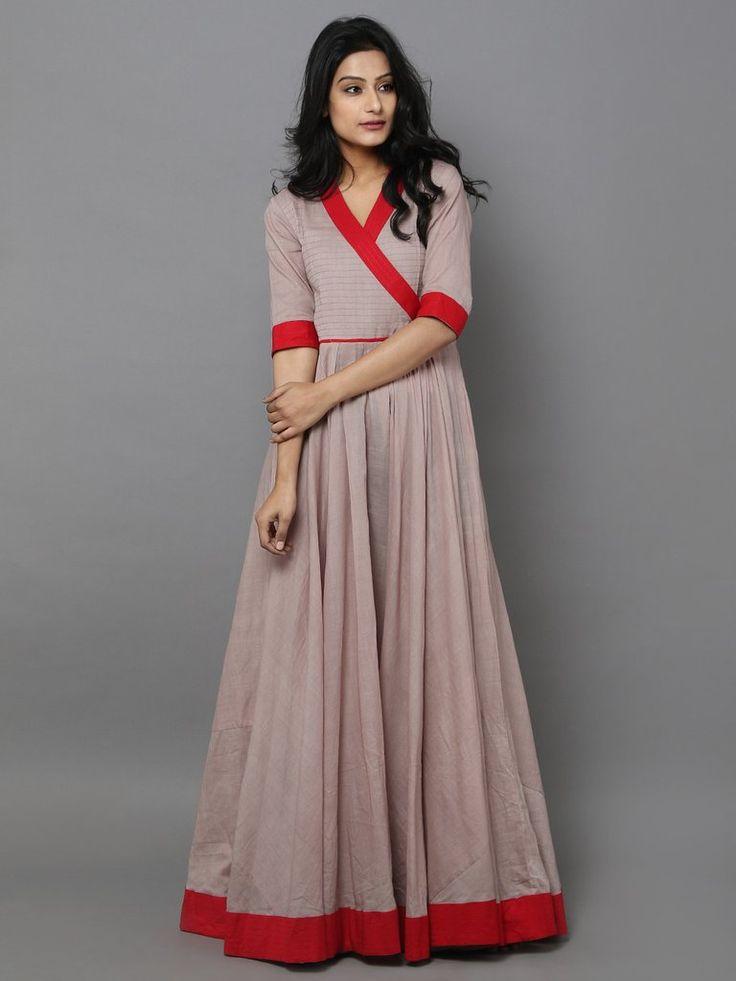 Beige Red Cotton Mul Anarkali Dress