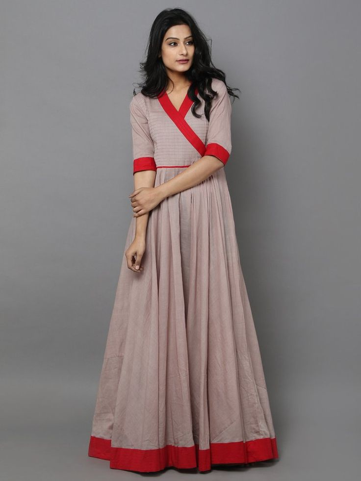 Beige Red Cotton Mul Anarkali Dress