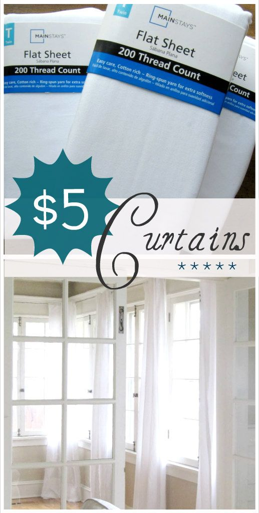 How to make curtains using $5 sheets from Wal-Mart