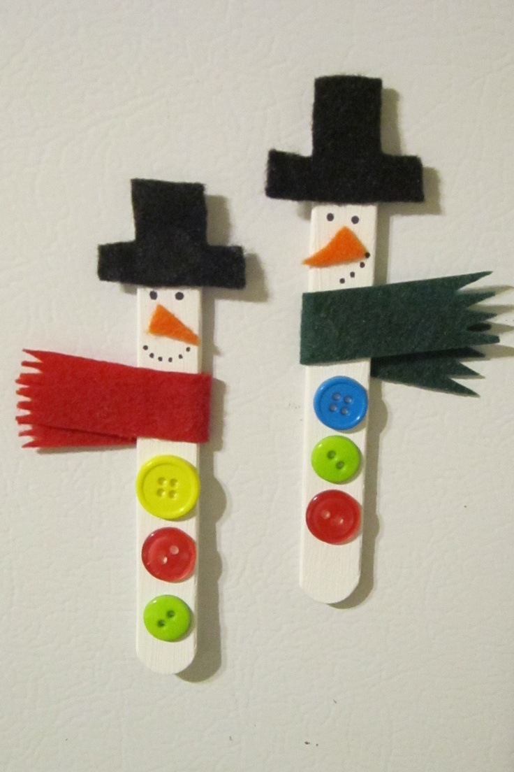 I made these! :)  Snowman popsicle sticks - paint popsicle sticks white, glue on felt hat, scarf, and nose, draw eyes and mouth with Sharpie, and glue on buttons! (I also put magnetic tape on the back to make cute fridge magnets.)