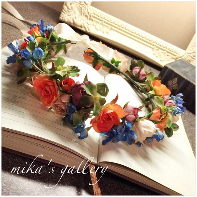 minne(ミンネ)| フレッシュオレンジ×ブルー×グリーン花冠 海外ウェディング持ち込みOK
