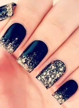 Luck consists largely of hanging on by your fingernails until things start to go your way ~ Aaron Allston | www.TwoPinkHouses.com - Blue and gold nails
