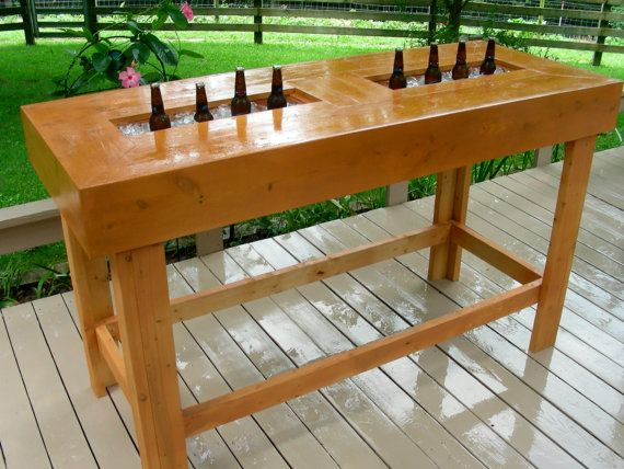 Wood bar table handmade with ice coolers chest by for Wood outdoor bar ideas