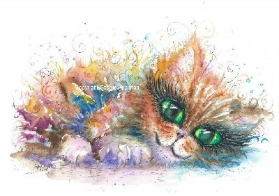 Kitten painting by Sophie Appleton £13.95 on the 'Art 4 SALE' page of www.sixfootsophie.co.uk