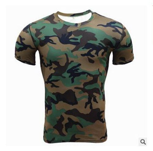 Summer Tactical Camouflage T Shirt Men Breathable Quick Dry Army Military Combat T-Shirt Short Sleeve Tights Workout Clothes