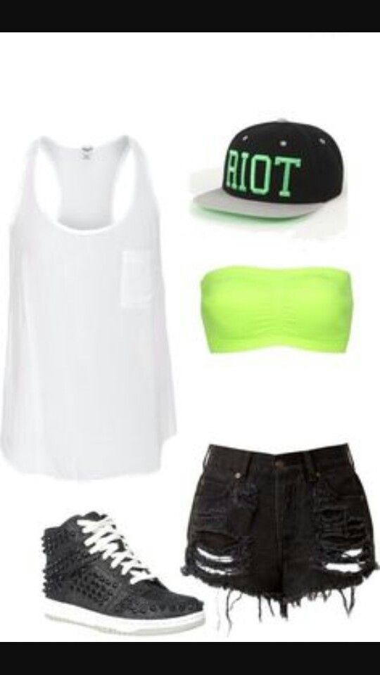 White tank with neon green bandeau, and high waisted jean shorts